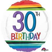 Folienballon Rainbow Birthday 30