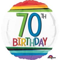 Folienballon Rainbow Birthday 70