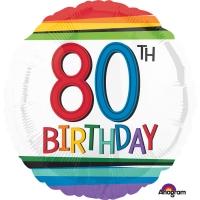 Folienballon Rainbow Birthday 80