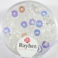 Glas-Schliffperlen, Radl 6x3 mm irisierend bergkristall