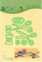 Präge- und Stanzschablone Nadel, Faden und Schere
