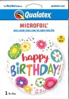 Folienballon Blumen - Happy Birthday