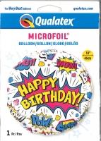 Folienballon Comic white - Happy Birthday