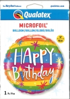 Folienballon Bunte Querstreifen - Happy Birthday