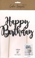 Cake Topper - Happy Birthday schwarz