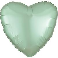 Folienherz uni satin luxe - mint green