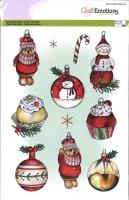 Clearstams A5 - Weihnachtskugeln - Schneemann - Bär