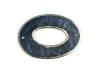 Perlmutt Schmuckelement Oval 40x28mm taubenblau