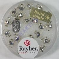 Glas-Rautenperlen 6mm 22St silber (Restbestand)