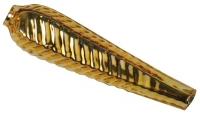 Glas-Tropfen 32x8mm länglich struktur 12St gold (Restbestand)