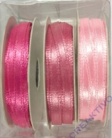 Rayher Satinband 3mm 3 x 6m rose-Töne