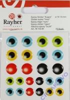 Epoxy-Sticker Augen 10-14mm 24 Stück