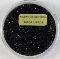 Pracht Delica Rocailles 2mm 9g schwarz glanz
