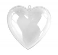 Plastik Herz 8cm zweiteilig glasklar