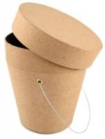Pappmaché-Eimer mit Deckel Höhe 10 cm