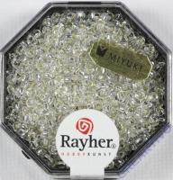 Premium-Rocailles, 2,2 mm ø mit Silbereinzug bergkristall