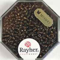 Premium-Rocailles, 2,2 mm ø mit Silbereinzug mokka