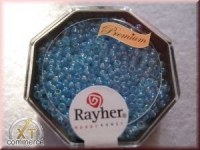 Premium-Rocailles, 2,2 mm ø transparent Rainbow aquamarin