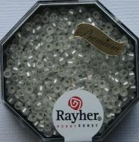 Premium-Rocailles, 2,2 mm ø mit Silbereinzug, gefrostet frost