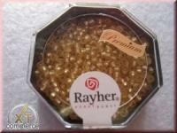 Premium-Rocailles, 2,2 mm ø mit Silbereinzug, gefrostet golden s