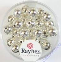 Rayher Plastik-Rundperlen 8mm silber