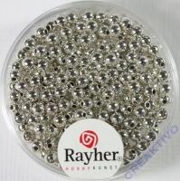 Rayher Plastik-Rundperlen 3mm silber