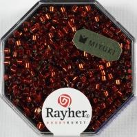 Delica-Rocailles, 2,2 mm ø mit Silbereinzug, klassikrot