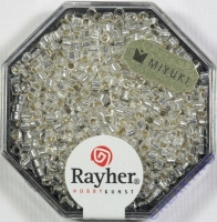 Delica-Rocailles, 2,2 mm ø mit Silbereinzug, bergkristall