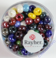 Rayher Glas Großlochradl opak 6mm bunt