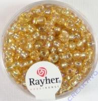 Rocailles mit Silbereinzug+ Rainbow 4mm honiggelb