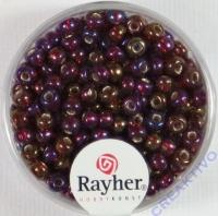 Rocailles mit Silbereinzug+ Rainbow 4mm pompadur-rot
