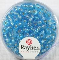Rocailles mit Silbereinzug+ Rainbow 4mm azurblau