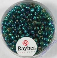 Rocailles mit Silbereinzug+ Rainbow 4mm smaragd