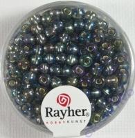 Rocailles mit Silbereinzug+ Rainbow 4mm stahlgrau