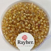 Rocailles 2,6mm mit Silbereinzug + Rainbow honiggelb