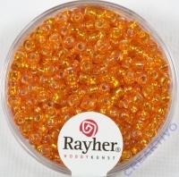 Rocailles 2,6mm mit Silbereinzug + Rainbow mandarine