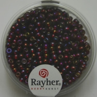 Rocailles 2,6mm mit Silbereinzug + Rainbow pompadur-rot