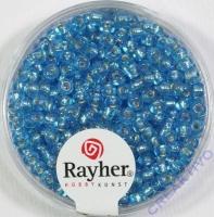 Rocailles 2,6mm mit Silbereinzug + Rainbow azurblau