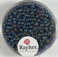 Rocailles 2,6mm mit Silbereinzug + Rainbow petrol