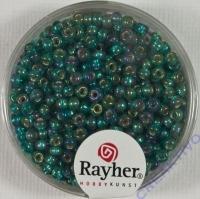 Rocailles 2,6mm mit Silbereinzug + Rainbow smaragd