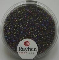 Rocailles 2mm mit Silbereinzug + Rainbow pompadur-rot