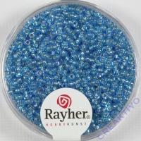 Rocailles 2mm mit Silbereinzug + Rainbow azurblau