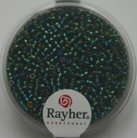 Rocailles 2mm mit Silbereinzug + Rainbow smaragd