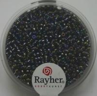 Rocailles 2mm mit Silbereinzug + Rainbow stahlgrau