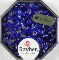 Magatama Perlen 4x7mm Silbereinzug royalblau