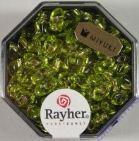 Magatama Perlen 4x7mm Silbereinzug apfelgrün