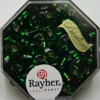Magatama Perlen 4x7mm Silbereinzug smaragd