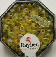 Magatama Perlen 4x7mm transp. frost Rainbow lichtgelb