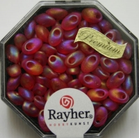 Magatama Perlen 4x7mm transp. frost Rainbow feuerrot