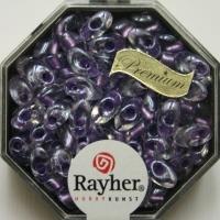 Magatama Perlen 4x7mm gelüstert Rainbow violett hell